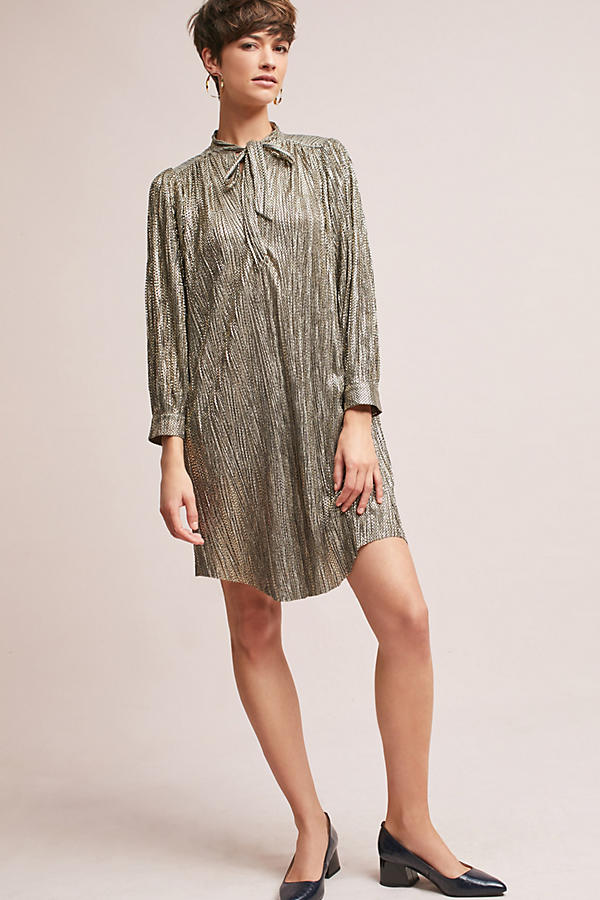 Slide View: 3: Eugene Shimmer Tunic Dress, Gold