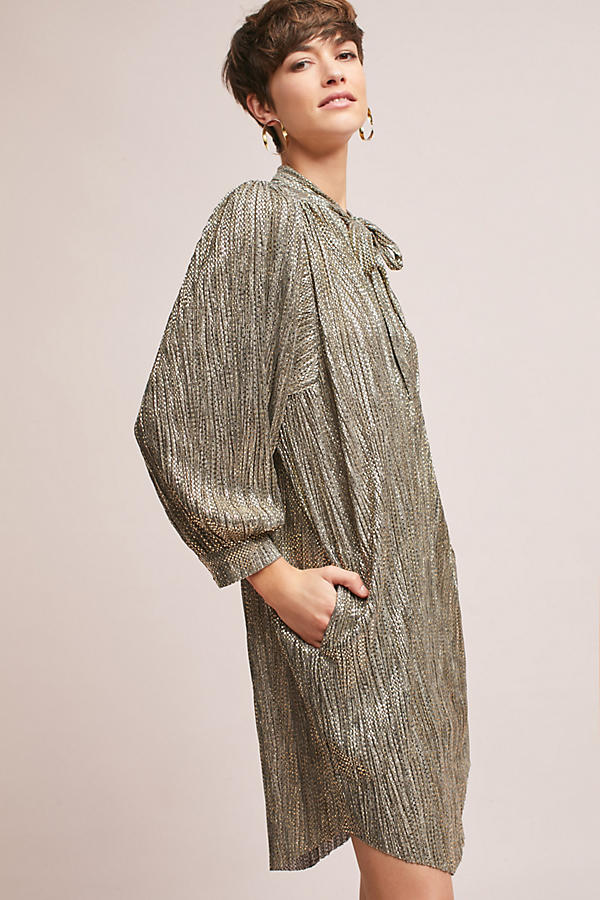 Slide View: 4: Eugene Shimmer Tunic Dress, Gold