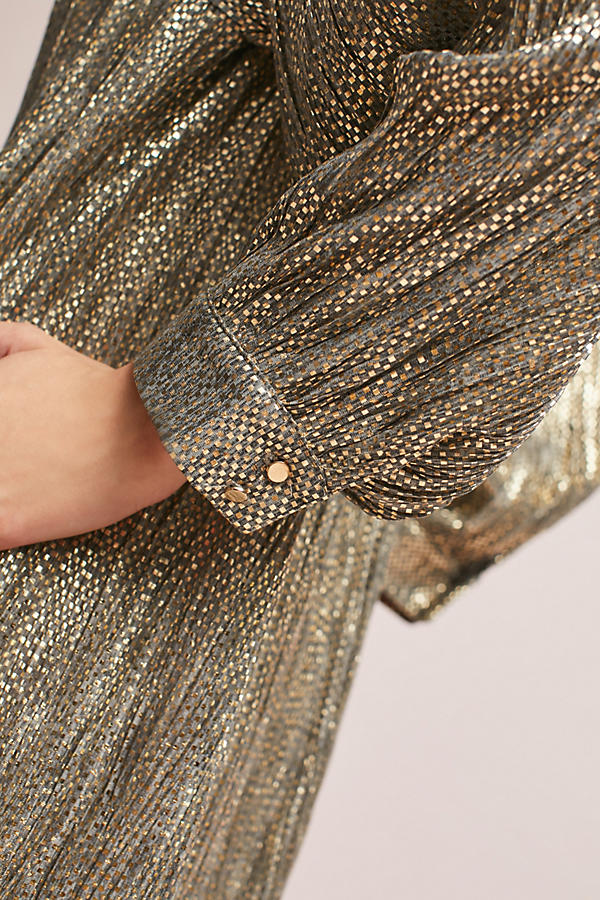 Slide View: 5: Eugene Shimmer Tunic Dress, Gold