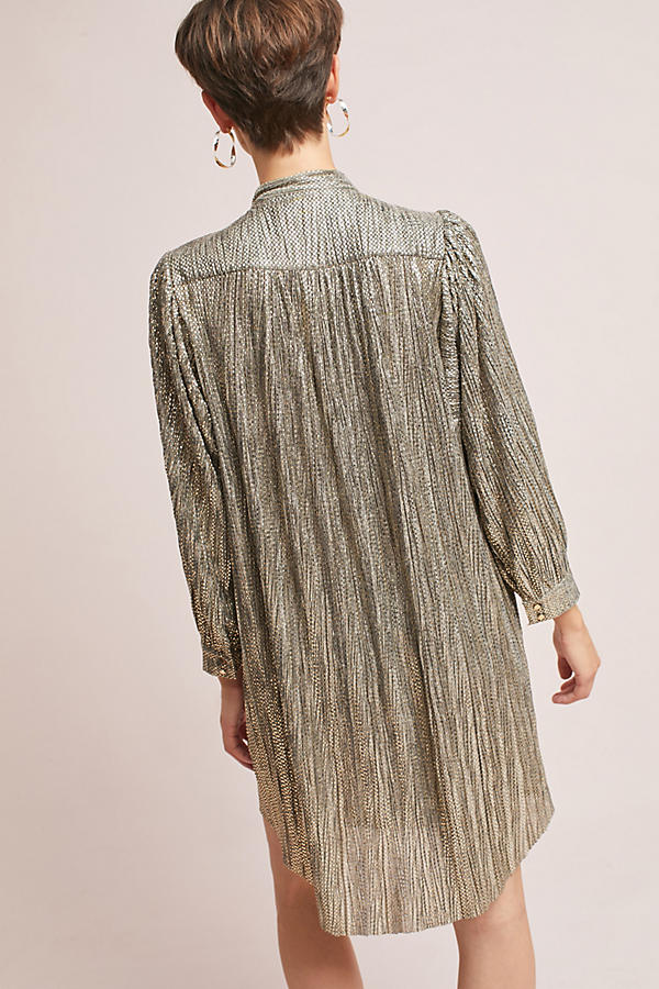 Slide View: 6: Eugene Shimmer Tunic Dress, Gold