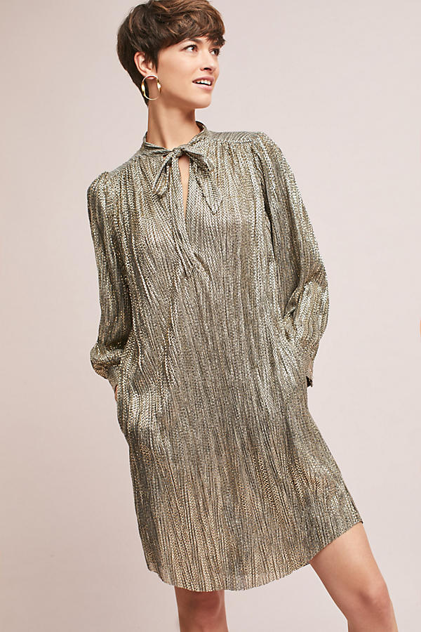 Slide View: 1: Eugene Shimmer Tunic Dress, Gold