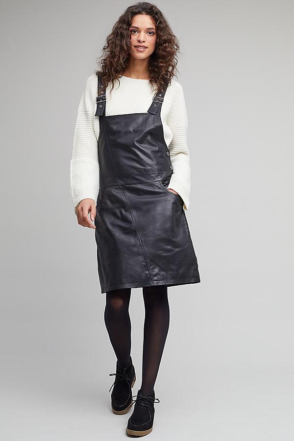 Coba Leather Pinafore Dress - Black, Size S
