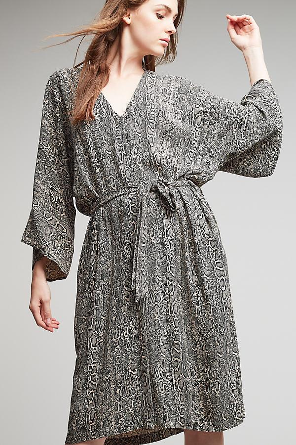 Eliza Printed Kimono Dress - Black & White, Size Uk12