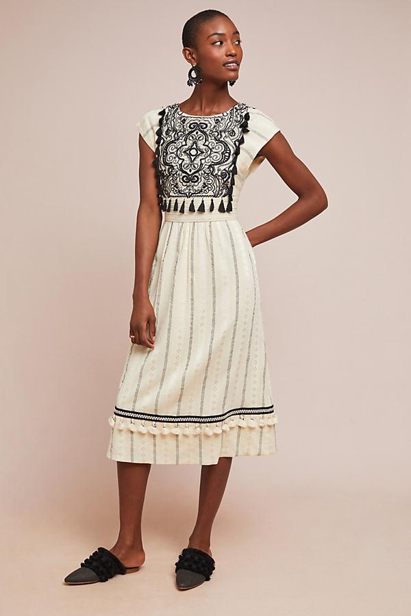 Anaya Embroidered Dress - White, Size Uk 12