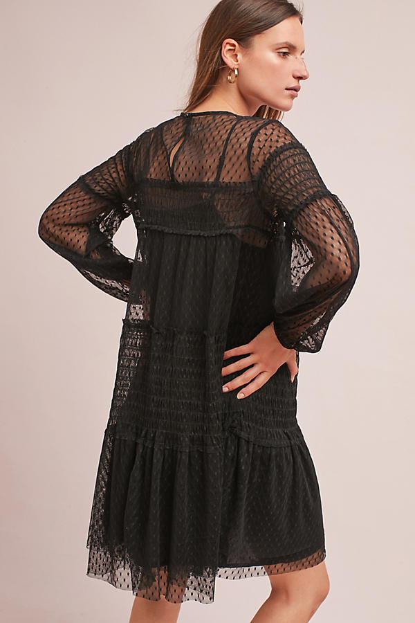 Sarama Tunic Dress, Black | Anthropologie