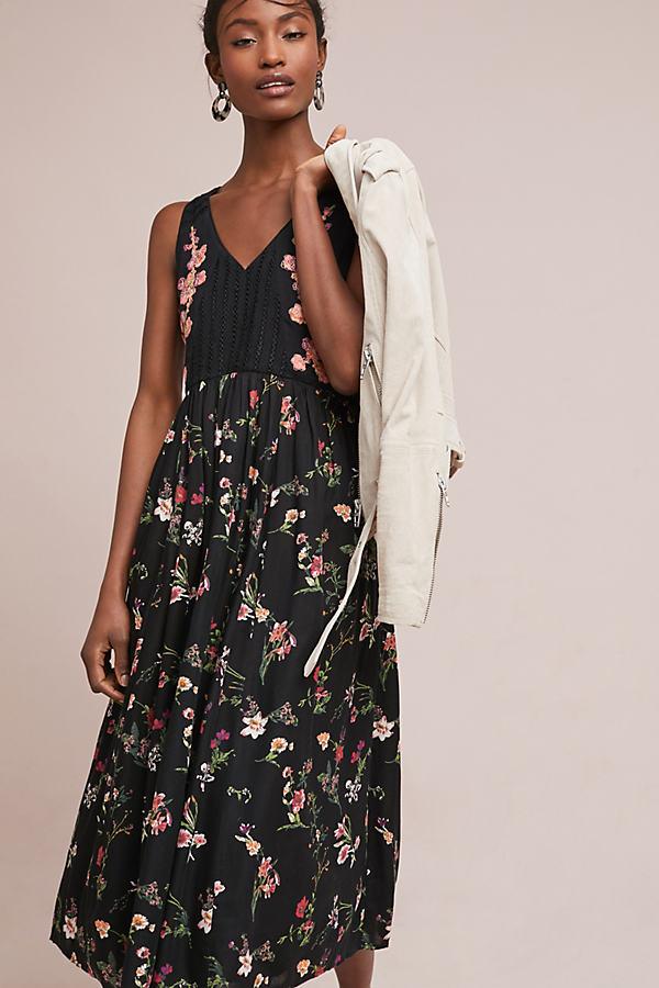 Lola Embroidered Dress - Black Motif