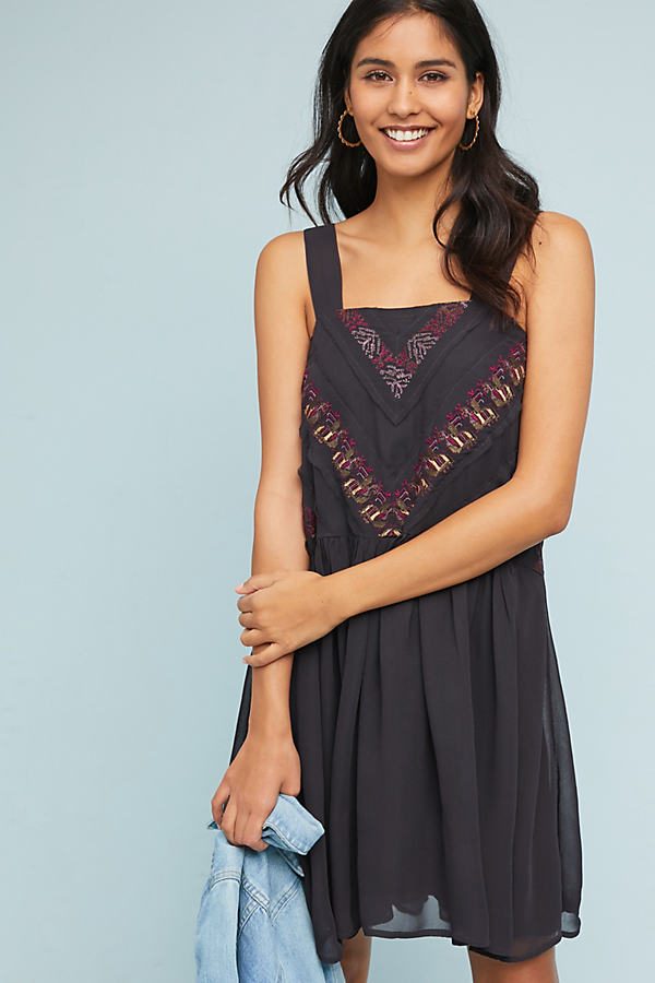 Haifa Embroidered Dress - Black