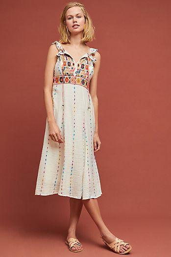 Llama Embroidered Dress