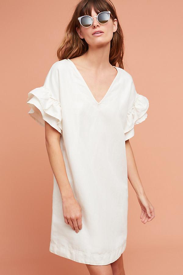 Lottie Fluttered Tunic Dress - Ivory, Size Xl