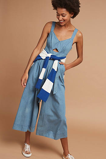 Halle Chambray Wide-Leg Jumpsuit, Blue