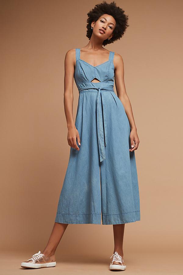 Halle Chambray Wide-Leg Jumpsuit, Blue - Denim Light, Size Uk 6