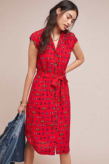 Colloquial Short Sleeved Shirtdress