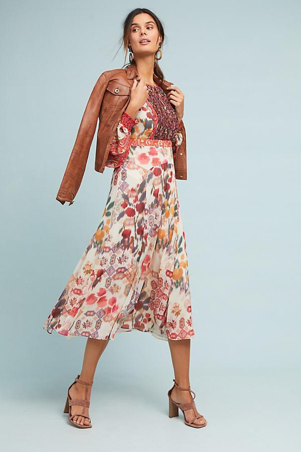 Sheer Printed Midi Dress - Assorted, Size Uk 12
