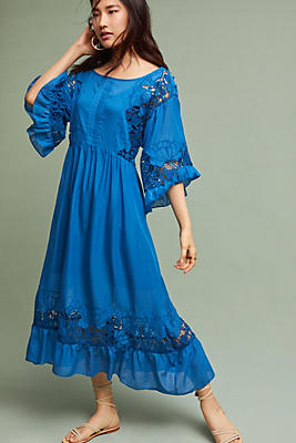 Slide View: 1: Meadow Flutter-Sleeve Swing Dress