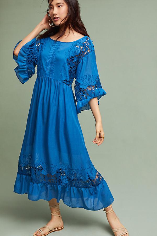 Meadow Flutter-Sleeved Dress, Blue - Blue, Size M