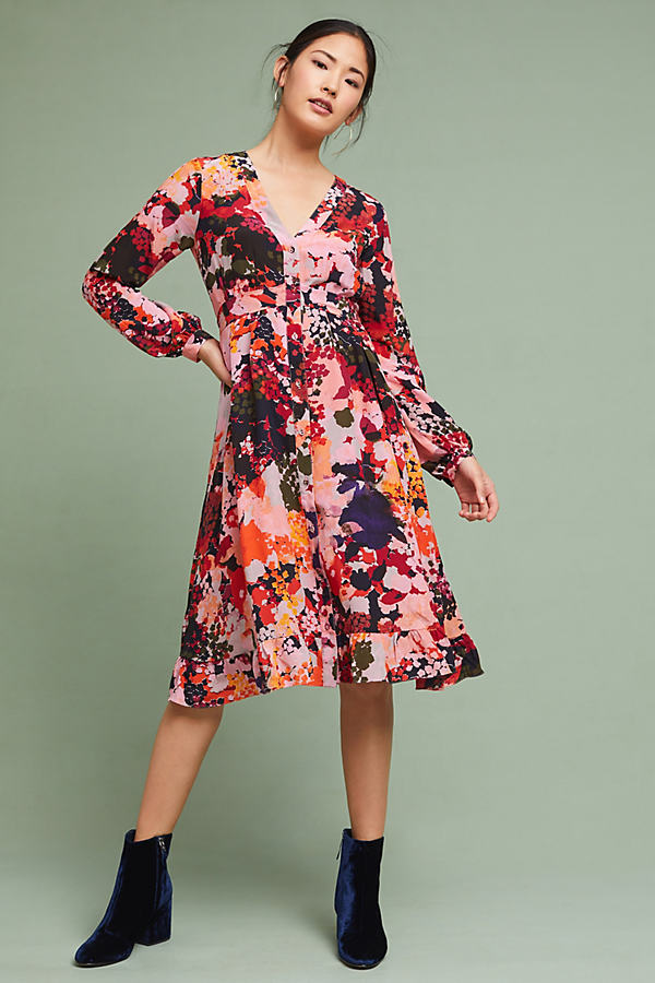 Edina Printed Silk Wrap Dress - Pink