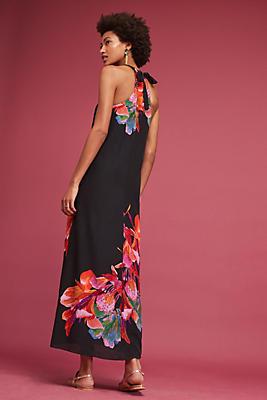 Cayman Silk Maxi Dress, Black | Anthropologie