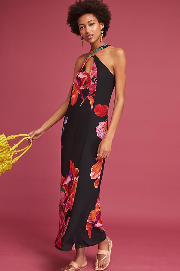 Cayman Silk Maxi Dress, Black - Black Motif, Size L Petite