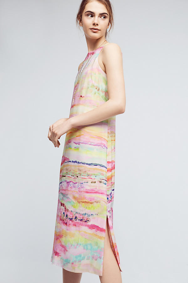 Slide View: 2: Painted Silk Column Dress
