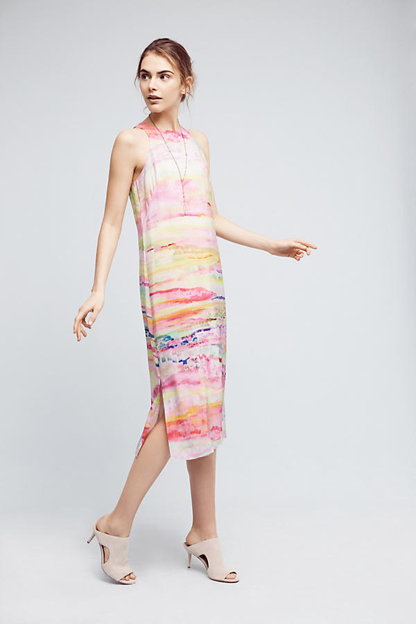 Slide View: 1: Painted Silk Column Dress