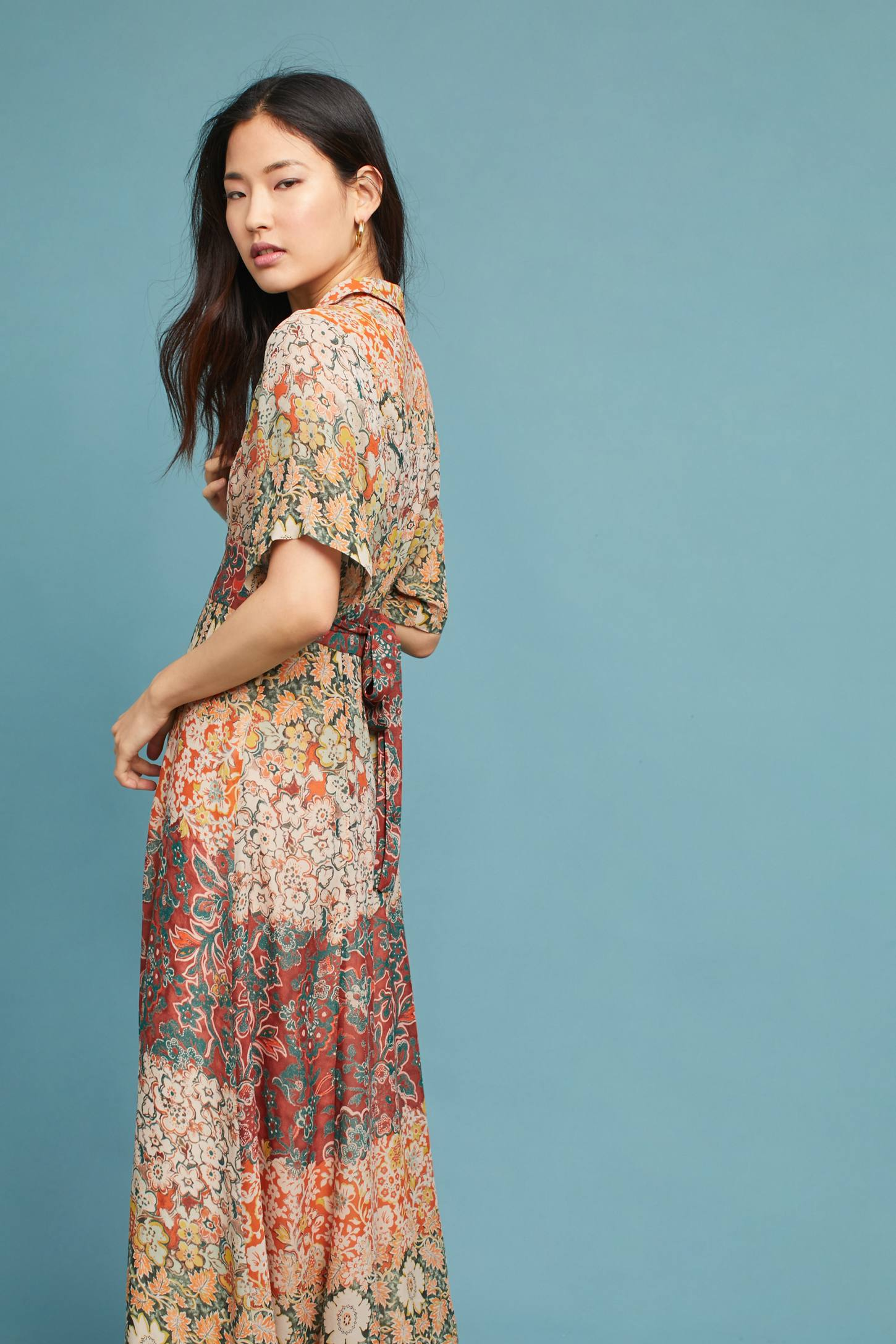 Printed Silk Maxi Dress Anthropologie