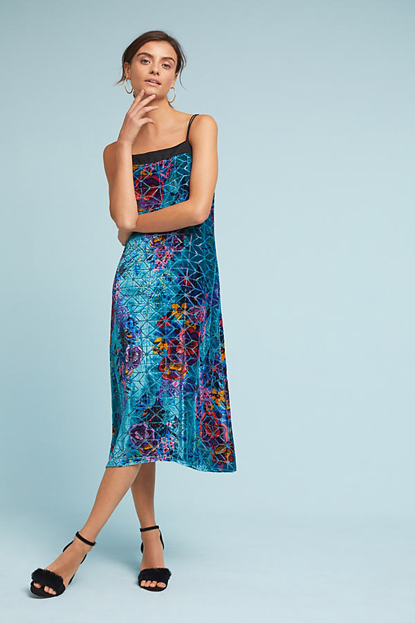 Lange Velvet Slip Dress - Turquoise, Size Uk 12