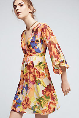 Slide View: 1: Deloria Printed Silk Dress