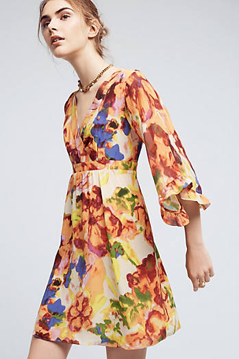 Deloria Printed Silk Dress