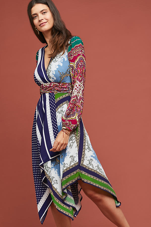 Istanbul Wrap Dress - Blue, Size Uk 14