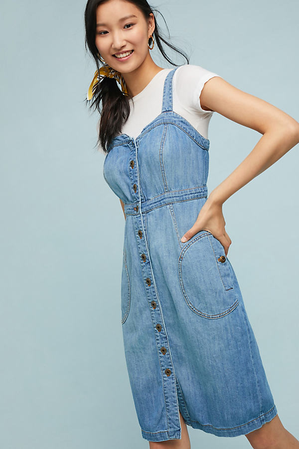 Pilcro Buttondown Denim Dress - Blue, Size Uk 10