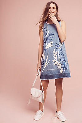 Slide View: 1: Denim Leaves Shift Dress