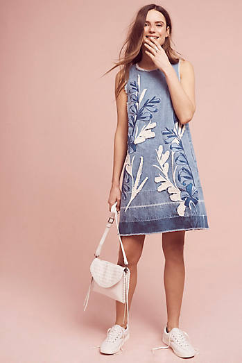 Denim Leaves Shift Dress