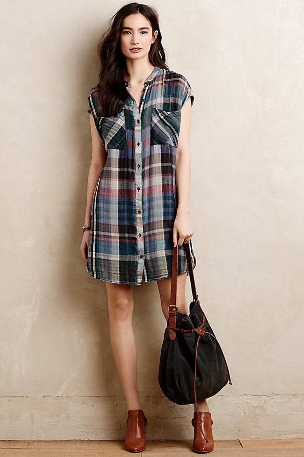 Slide View: 1: Mixed Plaid Tunic