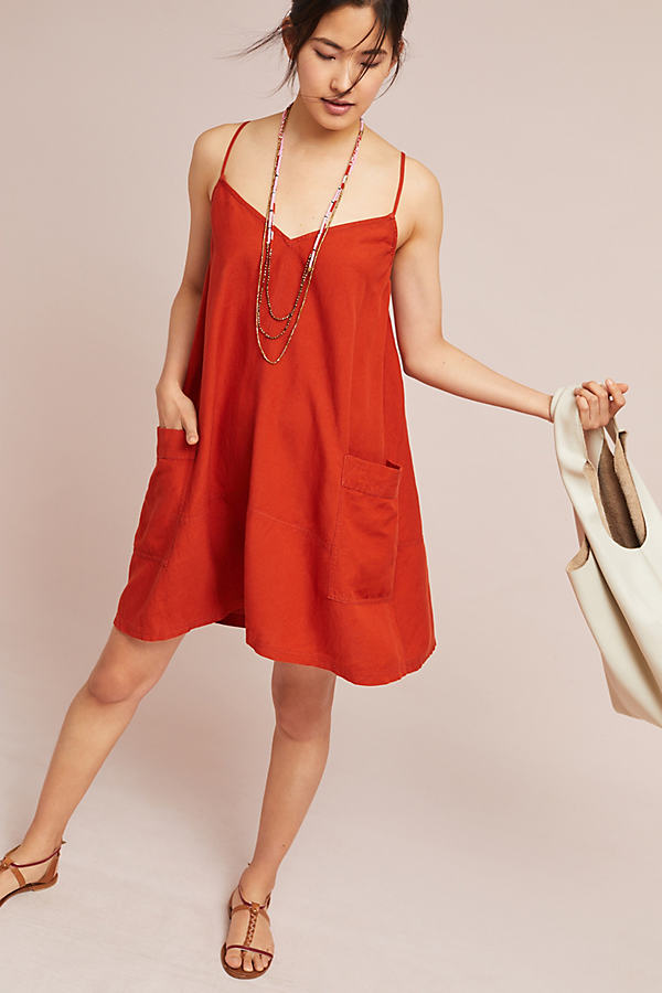 Josie Linen Tunic Dress - Dark Orange, Size S