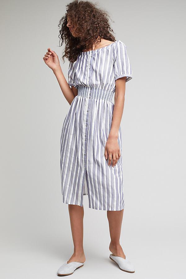 Jenna Lurex Stripe Dress - Blue, Size Uk 12