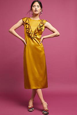 Slide View: 1: Ruffled Satin Dress