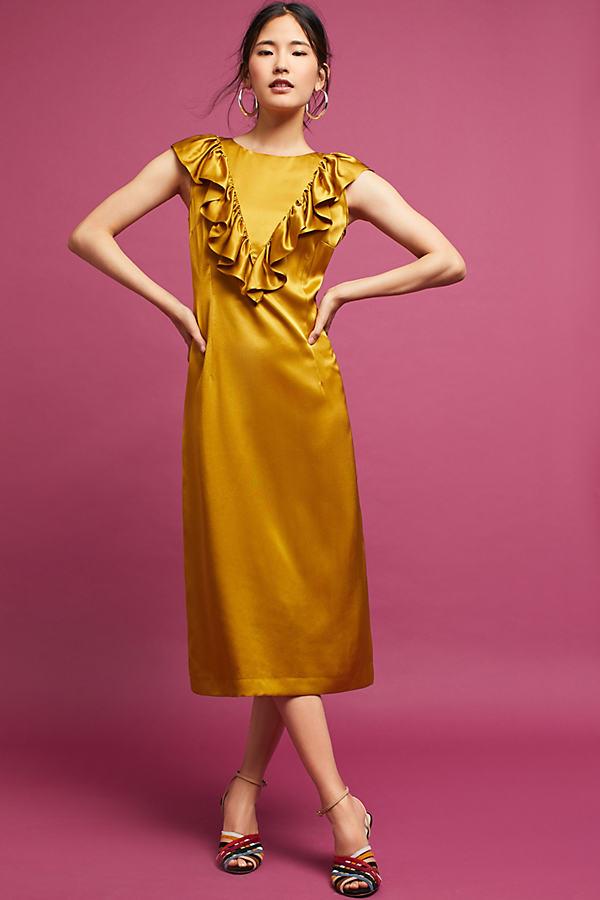 Zilpha Ruffled Satin Dress, Yellow - Dark Yellow, Size Uk 6