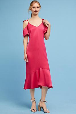 Slide View: 1: Satin Open-Shoulder Dress
