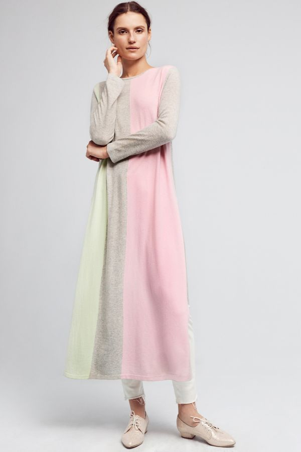 Zynni Cashmere Colorblocked Cashmere Dress
