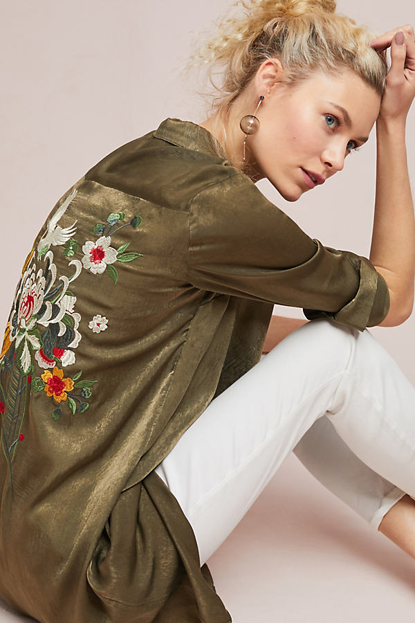 Batram Embroidered Shirtdress - Moss, Size S