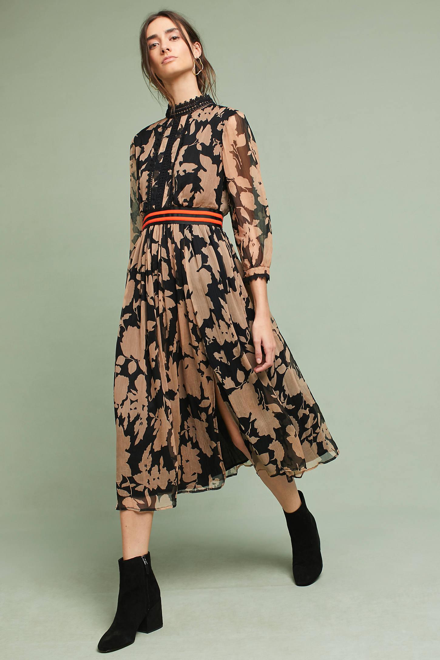 Floral High-Neck Maxi Dress