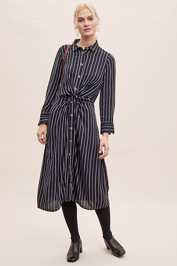 Striped Knot-Detail Midi Dress - Blue, Size Uk 6