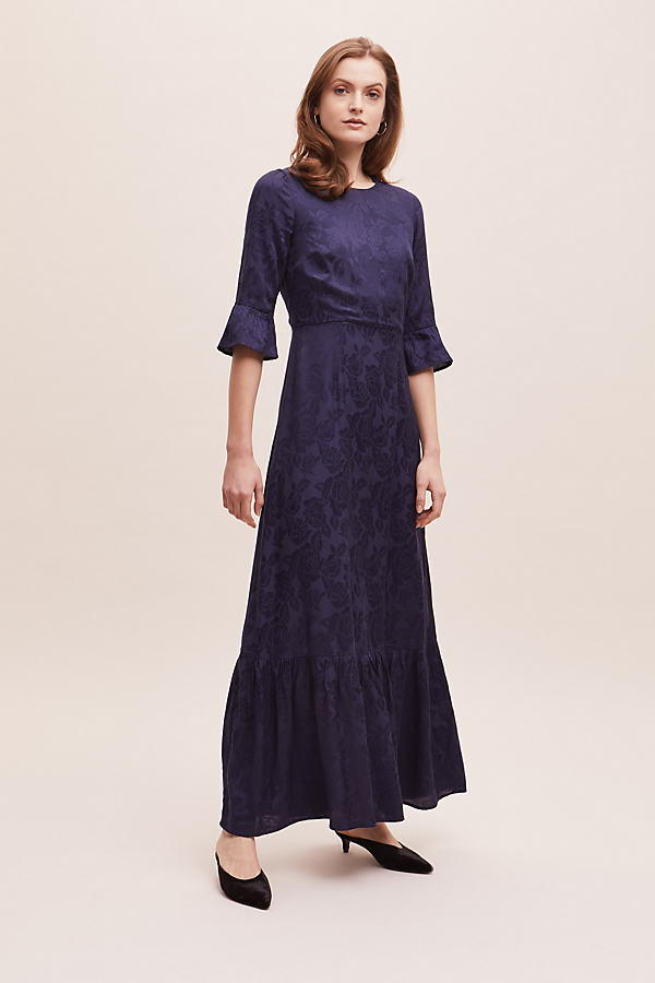 Zoza Floral-Jacquard Dress - Blue, Size Uk 12