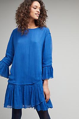 Aleid Belted Ruffle Dress, Blue | Anthropologie