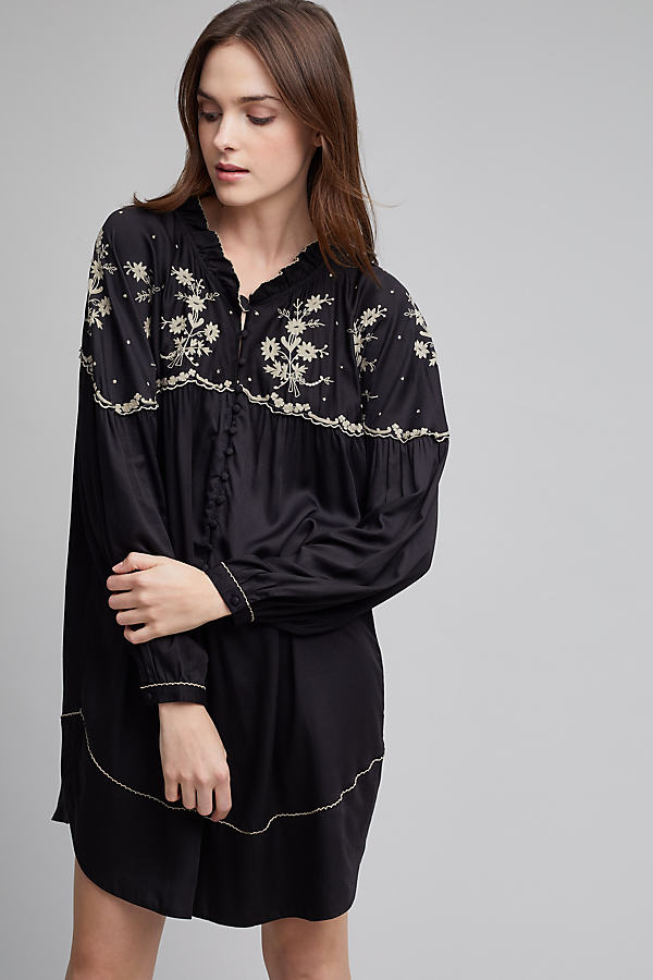 Ady Embroidered Henley Tunic - Black, Size Uk 6