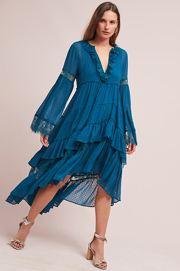 Meadow Ruffled Dress - Dark Turquoise, Size L