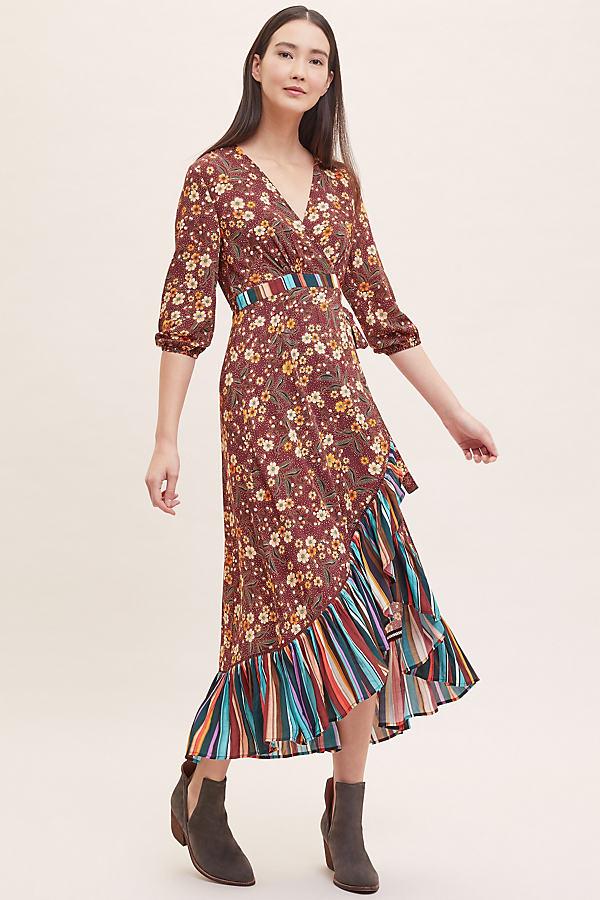 Dalia Striped-Floral Wrap Dress - Assorted, Size Xs