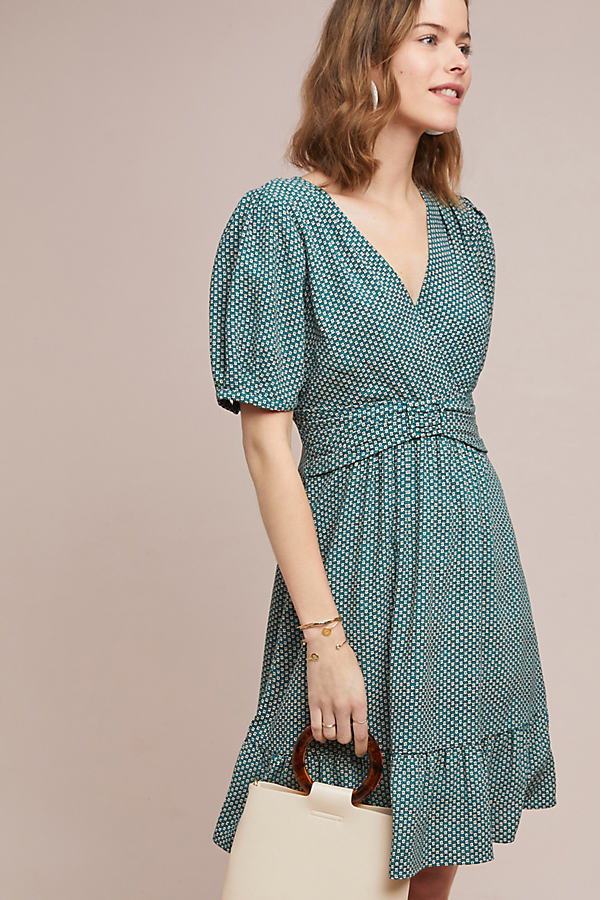 Keily Printed-Belted Dress - Blue, Size Uk 6