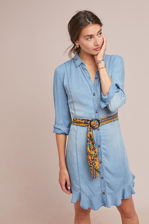 Pilcro Belted Chambray Shirtdress - Blue, Size Xl