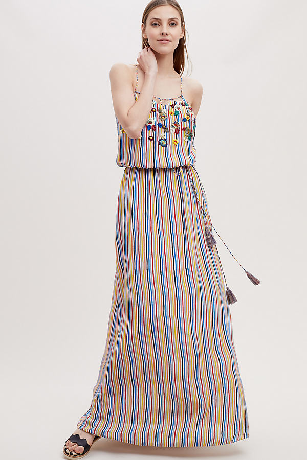 Alle Embroidered-Striped Maxi Dress - Yellow, Size Uk 14